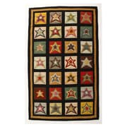 Homespice Decor Penny Star Patch Sampler Black/Gold Area Rug; 2' x 3'