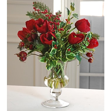 Jane Seymour Botanicals Tulip Holiday Bouquet in Glass Vase; Red
