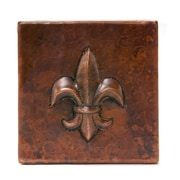 Premier Copper Products 4'' x 4'' Copper Fleur De Lis Tile in Oil Rubbed Bronze