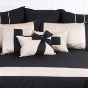 Charister Tux Bow Throw Pillow; Pewter with Black Band