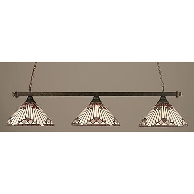 Toltec Lighting 3-Light Square Kitchen Island Pendant; Bronze