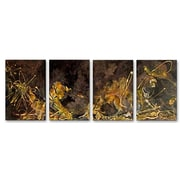 All My Walls 'Golden Touch' by Angelika Mehrens 4 Piece Original Painting on Metal Plaque Set