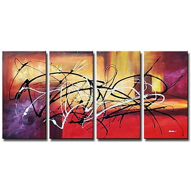 White Walls Aftermath 4 Piece Framed Painting Print on Wrapped Canvas Set