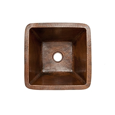 Premier Copper Products 15'' x 15'' Square Hammered Copper Bar Sink; 2''