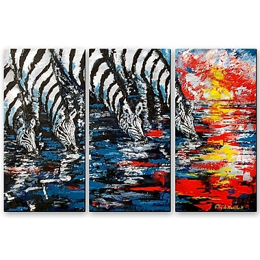 All My Walls 'Zebras Four' by Claude Marshall 3 Piece Painting Print Plaque Set