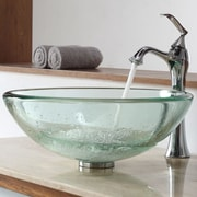 Kraus Clear Thick Glass Vessel Sink and Single Hole Faucet with Single Handle; Brushed Nickel