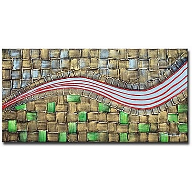 White Walls Emerald Tiles Framed Original Painting on Wrapped Canvas