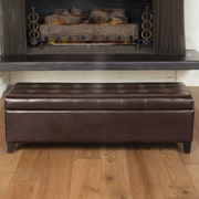 Home Loft Concepts Trufant Bonded Leather Tufted Storage Ottoman Bench