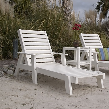POLYWOOD Captain Chaise Lounge w/ Arms; White
