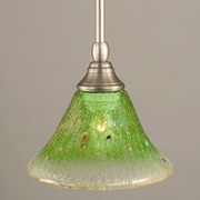 Toltec Lighting Stem Mini Pendant With Hang Straight Swivel; Brushed Nickel