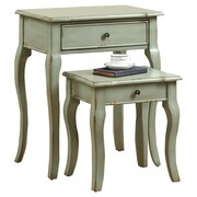 Monarch Specialties Inc. 2 Piece Nesting Table Set II; Antique Green