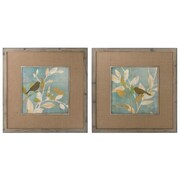 Uttermost Turquoise Bird Silhouettes 2 Piece Framed Painting Print Set