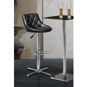 dCOR design Devilin Adjustable Height Swivel Bar Stool with Cushion; Black