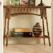 Kenian Coastal Chic Console Table; Antique Tortoise