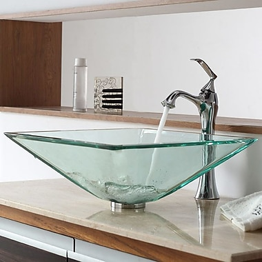 Kraus Bathroom Combos Aquamarine Glass Vessel Bathroom Sink w/ Single Handle Single Hole Faucet