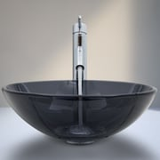 Vigo Sheer Black Glass Vessel Bathroom Sink and Dior Vessel Faucet w/ Pop Up; Sheer Black