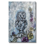 All My Walls 'Baby Owl Dreams in Color' by Christina Loraine Original Painting on Metal Plaque