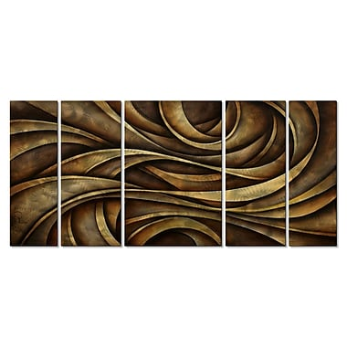 All My Walls 'Neutral Waves' by Michael Lang 5 Piece Graphic Art Plaque Set