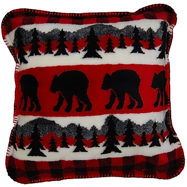 Denali Bear Plaid Border Throw Pillow