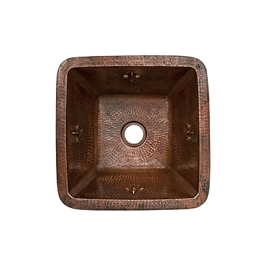 Premier Copper Products Fleur De Lis 15'' x 15'' Square Copper Bar Sink; 2''