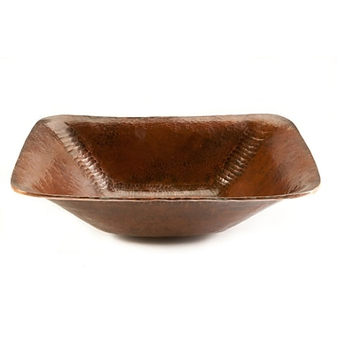 Premier Copper Products Rectangular Old World Hand Forged Copper Vessel Sink