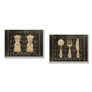 Stupell Industries Salt, Pepper and Utensils Typography 2 Piece Kitchen Wall Plaque Set
