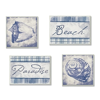 Stupell Industries Beach, Paradise, and Seashells 4 Piece Textual Art Wall Plaque Set
