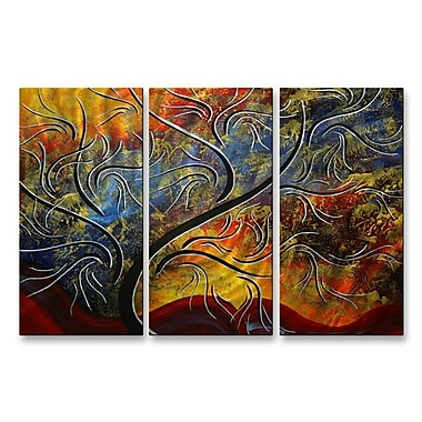 All My Walls 'Emerald Glow II' by Megan Duncanson 3 Piece Graphic Art Plaque Set