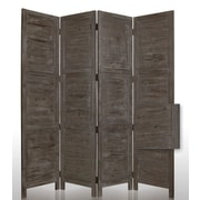 Screen Gems 84'' x 76'' Nantucket Painted 4 Panel Room Divider; Grey
