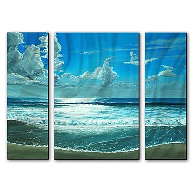 All My Walls 'Surfside Sparkle' by Keith Wilke 3 Piece Painting Print Plaque Set