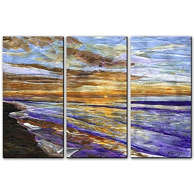 All My Walls 'Sunrise at Surfside' by Keith Wilke 3 Piece Painting Print Plaque Set