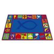Kid Carpet Bible Squares Christian School Blue Area Rug; 6' x 8'6''