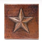 Premier Copper Products 4'' x 4'' Copper Star Tile in Oil Rubbed Bronze