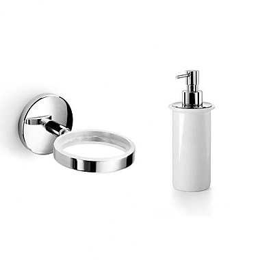 WS Bath Collections Baketo Soap Dispenser; Polished Chrome / Frosted Glass