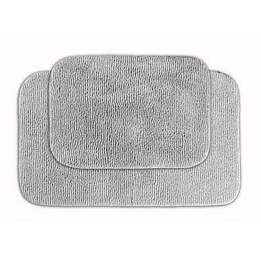 Garland Rug Glamor Bath Rug (Set of 2); Platinum Gray