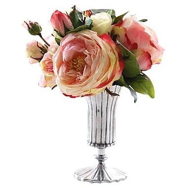 Jane Seymour Botanicals Rose and Peony Vase; Pink Green