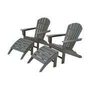POLYWOOD  South Beach Adirondack Chair Set w/ Ottomans; Slate Grey