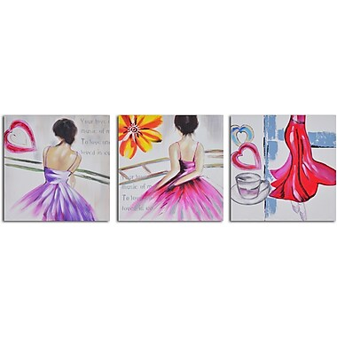 My Art Outlet 'Love to Dance' 3 Piece Original Painting on Wrapped Canvas Set