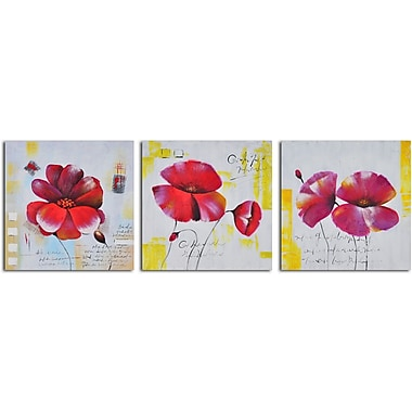 My Art Outlet 'Floral Notes' 3 Piece Original Painting on Wrapped Canvas Set
