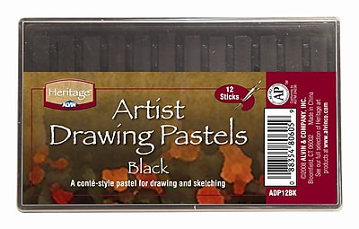 Alvin and Co. Black Drawing Pastels (Set of 12) WYF078276230605