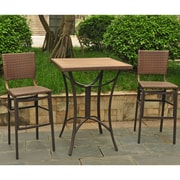 International Caravan Barcelona Wicker Resin Bar Height Bistro 3 Piece Set; Antique Brown