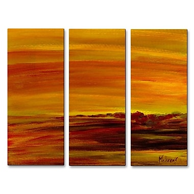 All My Walls 'Golden Sea' by Angelika Mehrens 3 Piece Painting Print Plaque Set