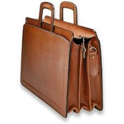 Jack Georges Belting Triple Gusset Leather Briefcase; Tan