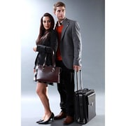 Jack Georges Milano Vertical Leather Laptop Briefcase; Black