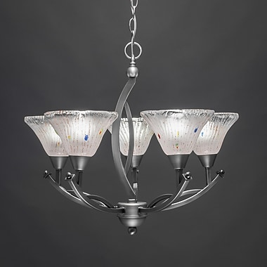Toltec Lighting Bow 5 Light Up Chandelier w/ Crystal Glass; Brushed Nickel