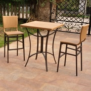 International Caravan Barcelona Wicker Resin Bar Height Bistro 3 Piece Set; Honey