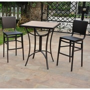 International Caravan Barcelona Wicker Resin Bar Height Bistro 3 Piece Set; Chocolate