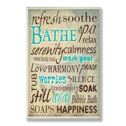 Stupell Industries Bathe Wash Your Worries Typography Bathroom Wall Plaque