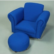 Gift Mark Kid's Upholstered Chair and Ottoman Set; Blue