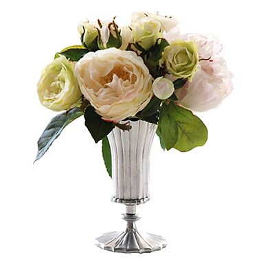 Jane Seymour Botanicals Rose and Peony Vase; Green White